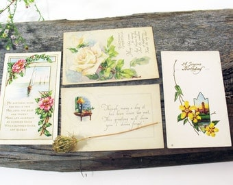 Antique Birthday Postcards, Victorian, Lithographs, Roses, Flowers