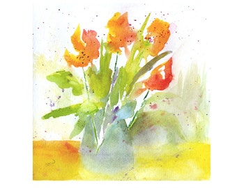 Watercolor Flowers, Original Watercolor Flower Painting, Floral Painting, Still life, Tulips, Modern Art, Orange flowers, Wall Art