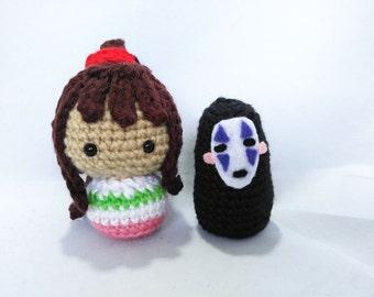 Tiny Spirited Away Dolls Sen and No Face Amigurumi Set