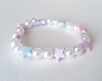 Pink, Purple, and Blue Star Pearl Stretch Bracelet - Fairy Kei Bracelet Pastel Bracelet Kawaii Stretch Bracelet Kawaii Bracelet Beaded