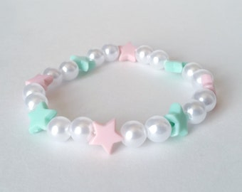 Pink and green Star Pearl Stretch Bracelet - Fairy Kei Bracelet Pastel Bracelet Kawaii Stretch Bracelet Kawaii Bracelet Beaded