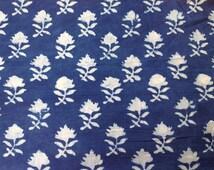 Organic Indigo Fabric Floral Print Cotton Hand Stamped Indigo Fabric Sold by Yard