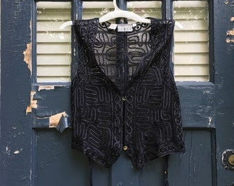 Black Lace Crochet Button Vest