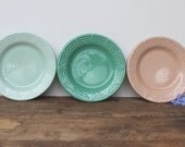 H. F. Coors Co. Aztec Bread Plates, Green, Pale Pink & Mint Green California Pottery, Set of 3, 7 inch