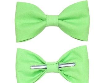 Sour Apple Green Clip On Bow Tie Bowtie Men / 2T 3T / 12-18 Months