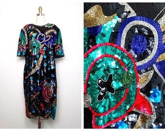 Bright Color Pop Sequined Dress // Sequin Beaded Dress // Plus Size Trophy Dress