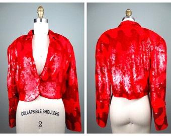 RETRO Houndstooth Sequin Jacket // Neon Red Sequined Jacket // Fully Embellished Cropped Jacket
