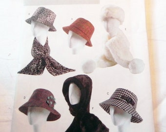 Winter Hat Scarves Hooded Scarf Fedora Hamberg sewing pattern Butterick 4366 UNCUT FF