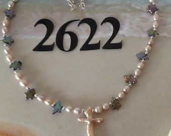 All pearl cross necklace