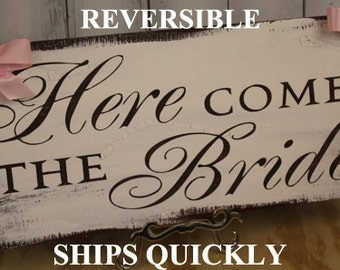 Here Comes the BRIDE Sign/Sale/Photo Prop/Reversible Options/Shower Gift/Rustic/Wood sign/Wedding/Fast Shipping