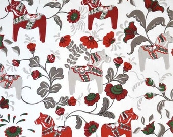 Curtain panel white red grey Dala Horses green flowers Scandinavian Modern House Decor Cafe curtain Kitchen valance Table linen , great GIFT