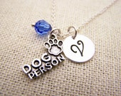 Dog Person Charm Necklace -  Swarovski Birthstone - Custom Initial - Personalized Sterling Silver Necklace / Gift for Her - Dog Owner Gift