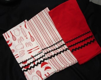 Red and Black Kitchen Towels