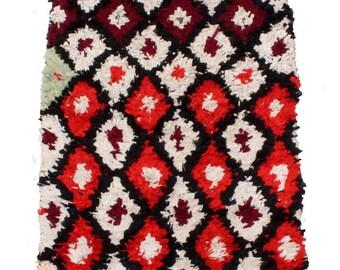 Vintage Moroccan Berber Boucherouite Rug