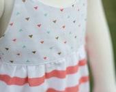 Arrow Triangle Mint Coral Gold Chevron Hummingbird Dress - Baby Girl
