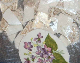 Take 40% Off, Broken China, Mosaic Focal, Mosaic Tiles, Hand Cut, Mosaic Supplies, Violets