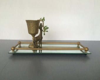 vintage mirrored vanity tray gold ledge rails narrow and rectangular retro