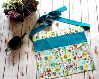 Gardening Apron · Garden Apron · Gnome Apron · Bicycle Apron · Woodland creature apron · Half Apron · Spring Apron - Turquoise Apron - Green
