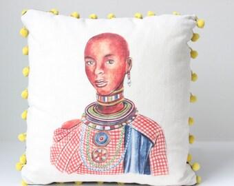 Maasai Woman Decorative Pillow, African Woman Throw Pillow, Pom Pom Pillow, Unique Pillow, Graphic Art Pillow, 16 x 16 Pillow, Tribal Pillow