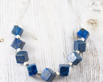 Lapis Lazuli Chunky Cube Bead Necklace, Blue Stone Necklace, Geometric Semi Precious Necklace