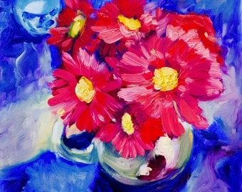 Red and Blue | Floral Painting | Original Oil Painting on Wood