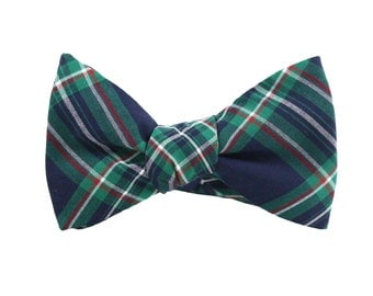 Bow Tie Green Plaid /bow ties for men/Men's Ties/plaid bow tie/Gifts For Men/wedding bow tie/groomsmen bow ties/mens bowties/green tie/green