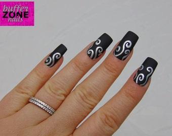 Hand Painted Press On False Nails, Matte Black & Silver Swirls, Long Length