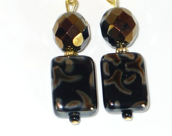 Black and gold firepolished  bead earrings.