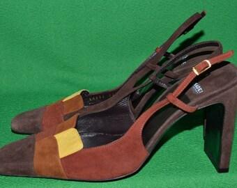 Vintage CASADEI Designer Shoes Sling Back  Brown Suede Italy