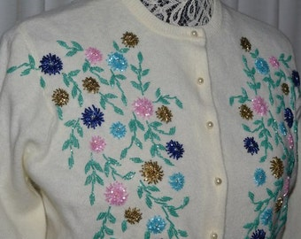 Vintage White Cashmere  Embroidery Multi Color Floral Beaded  White Cardigan  Sweater Vintage 1950's