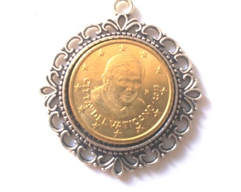 Coin Pendant Vatican City 2013 cent 50. Papa Ratzinger. Rome, Vatican, Pope, Religious.5th Birthday,5th Anniversary,  art.322