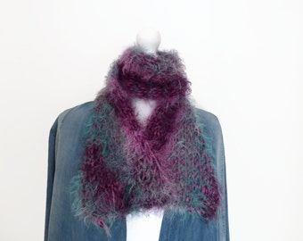 Teal & purple knit scarf, hand knit fluffy scarf, scarves UK, fashion scarves.
