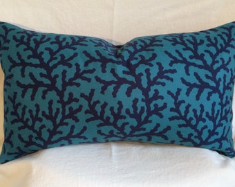 Single Lumbar Decorative Pillow Cover-14 X 23 Inch Coral Design-Aqua and Navy-Accent Kidney Pillow Cover-Free Shipping.