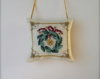 Completed primitive cross stitch Yuletide Wreath Christmas ornament / Christmas decoration