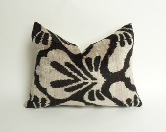 black ikat pillow case // velvet ikat pillow // ikat velvet cushion // silk velvet ikat cushion
