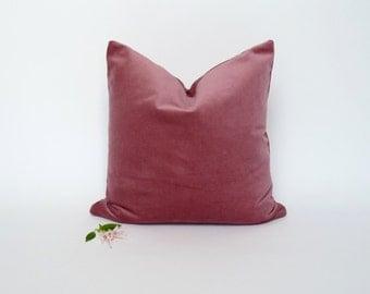 Dusty Pink Velvet Pillow case// Pink Velvet Cushion case // Pastel Pink Velvet