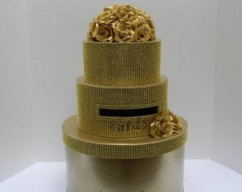 Gold Wedding Card Box Diamond Mesh Ribbon Bling Cake Box