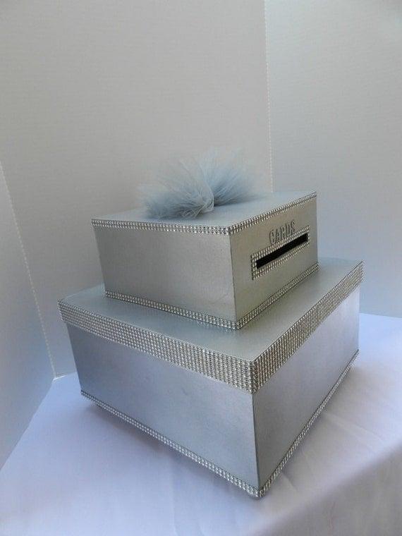 Silver Bling Wedding Card Box Diamond Mesh Ribbon by SweetJonesin – Bling Wedding Card Box