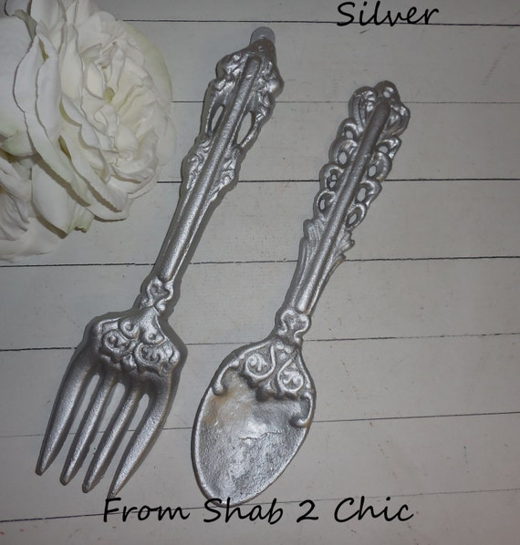 Kitchen Wall Decor Fork And Spoon: SILVER / Fork And Spoon Set / Kitchen Wall Art / Spoon Fork
