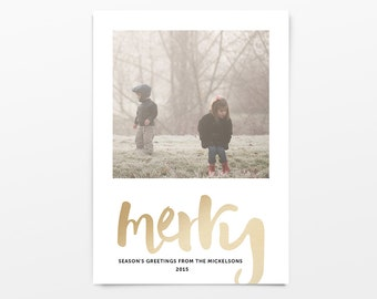 Foil Christmas Cards, Merry Faux Gold Foil, 5 x 7 Holiday Photo Cards [002GL-HPC]