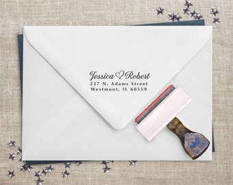 Return Address Stamp - Great for Wedding Invitations & Holiday Cards - Personalized Gift for Couple
