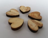 Pack of 5 mini wooden hearts, spalted beech wooden hearts, 1.5cm, wood, wooden, jewellery supplies, crafting