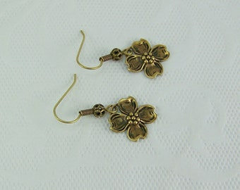 Dogwood Flower Earrings, Gold Dogwood Earrings, Spring Earrings, Flower Earrings, Flower Petal Earrings, Dogwood Earrings
