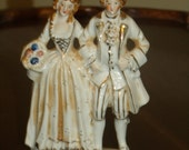"Antique Handpainted Colonial Man &Woman Made in Japan Porcelain Whitw  and Gold 6"" Tall Figurines"