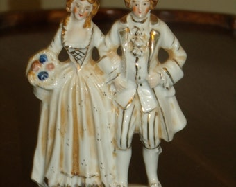 """Antique Handpainted Colonial Man &Woman Made in Japan Porcelain Whitw  and Gold 6"""" Tall Figurines"""
