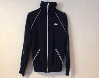 SALE 10% Vintage 1970's Navy & White Track Sweat Sports Jacket High Neck Zip Up Large Collar
