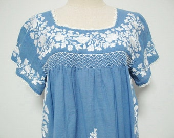Mexican Embroidered Blouse Short Sleeve Cotton Top In Blue, Boho Blouse, Hippie Top