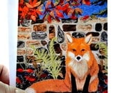 Greeting Card - Note Card - Stationary - Fox Quilt Card - Quilt Photo Note Card - Quilt - Fiber Art - Original
