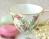 SALISBURY Pink Floral Bone China Vintage Tea Cup and Saucer Stunning Design,  shabby decor, vintage wedding, tea party