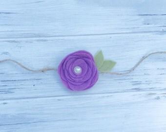 Felt flower headband, tie back headband, flower headband, newborn photography prop
